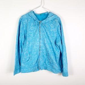 Fresh Produce blue floral full zip hoodie